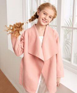 SHEIN Girls Waterfall Collar Belted Overcoat