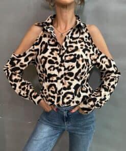 SHEIN Leopard Cold Shoulder Blouse