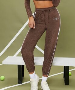 SHEIN Letter Embroidered Striped Side Joggers