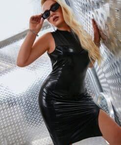 SHEIN Plus Contrast Mesh Split Hem PU Leather Dress