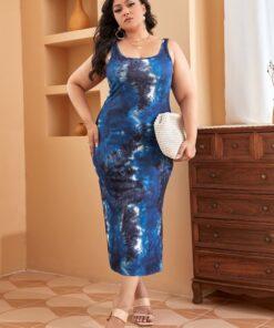 SHEIN Plus Tie Dye Split Hem Dress