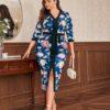 SHEIN Plus V Neck Floral Print Belted Split Hem Dress