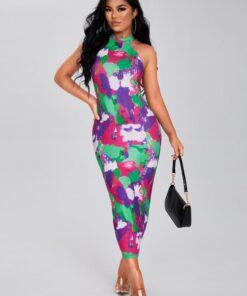 SHEIN SXY Tie Dye Print Bodycon Dress