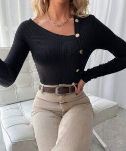 SHEIN Solid Asymmetrical Hem Ribbed Knit Tee