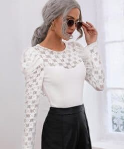 SHEIN Solid Lace Insert Puff Sleeve Rib-knit Top