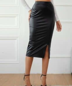 SHEIN Split Hem Leather Look Pencil Skirt