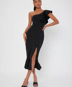 SHEIN Tall Solid One Shoulder Ruffle Hem Split Thigh Dress