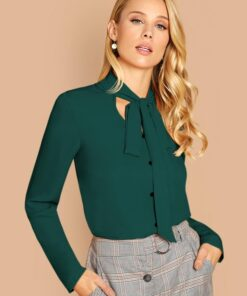 SHEIN Tie Neck Buttoned Front Blouse