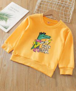 SHEIN Toddler Boys Cartoon And Letter Graphic Crew Neck Sweatshirt