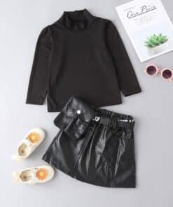SHEIN Toddler Girls Ribbed Knit Stand Neck Top & Flap Pocket Belted Skirt.jpg