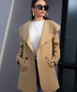 SHEIN Waterfall Collar Double Breasted Slant Pocket Overcoat