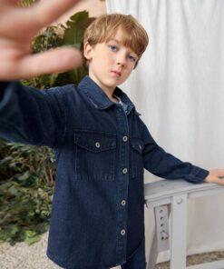 SHEIN boys Flap Pocket Drop Shoulder Denim Jacket