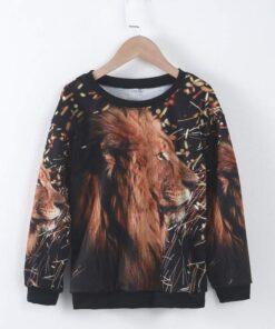 Shein Boys 3D Lion Print Drop Shoulder Pullover