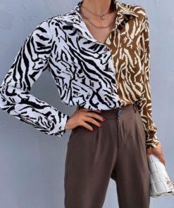 Shein Colorblock Zebra Striped Button Up Blouse