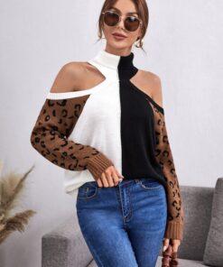 Shein Leopard Pattern Colorblock Cold Shoulder Sweater