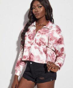 Shein Tie Dye Drop Shoulder Drawstring Sweatshirt