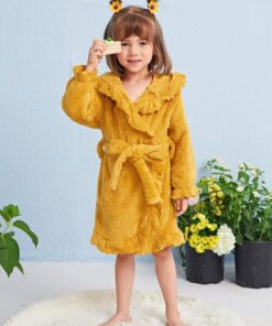 Shein Toddler Girls Ruffle Trim Belted Hooded Teddy Robe