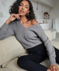 Shein V Neck Drop Shoulder Rib-knit Sweater