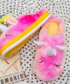 Unicorn fluffy slippers